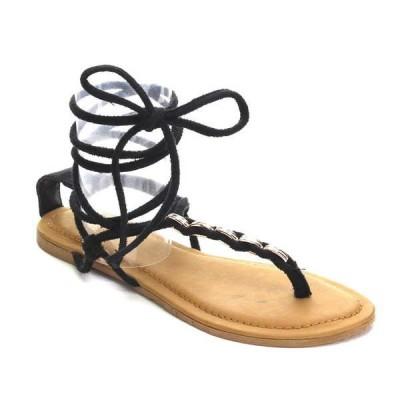 サンダル ビーチサンダル 海外厳選ブランド ベストon レディース Gladiator メタリック Thong フラット ヒール Lace Up サンダル ファッション-11 BLACK