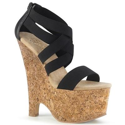 取寄せ靴 PLEASER プリーザー サンダル 16.5cm ヒール 黒 ブラック コルク 大きいサイズあり