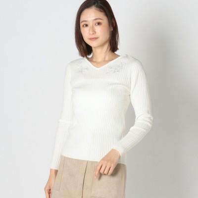 ミューズ MEW'S シアーレース刺繍リブニット (シロ)