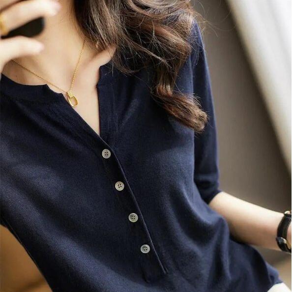 上衣 針織衫 T卹 新款不顯山露水的斯文 中袖羊毛針織衫TBF19A-A1231.胖胖美依