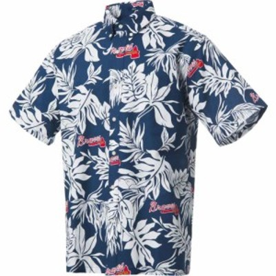レインスプーナー Reyn Spooner メンズ シャツ トップス Atlanta Braves Navy Aloha Button-Down Shirt