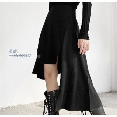 変形 サブカル ストリート 原宿系 ステージ オルチャン スカート スリット アシメ 韓国 黒  V系 衣装ボトムス ヘム