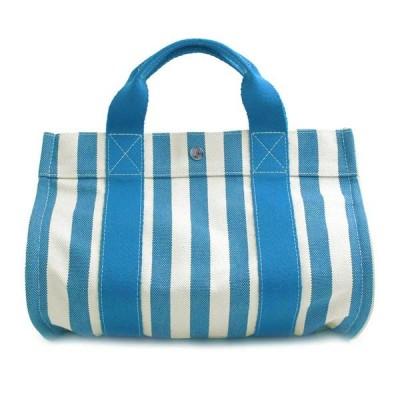 【未使用 展示品】エルメス カンヌ PM レディース メンズ トートバッグ ブルー×ホワイト