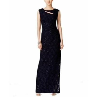 ファッション ドレス Connected Apparel NEW Blue Womens Size 8 Cutout Sequined Lace Gown