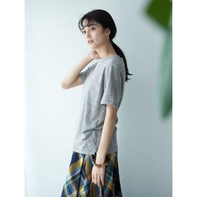【MORE  9月号掲載】スラブ半袖クルーネックカットプルオーバー