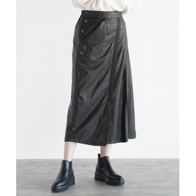 【LASUD】 [RADIATE] エコレザー ラップ風スカート レディース ブラック M LASUD