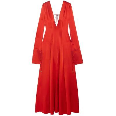 MICHAEL LO SORDO ロングワンピース&ドレス レッド 8 シルク 100% ロングワンピース&ドレス
