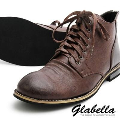 ワークブーツ ミドルカット アンクル フェイクレザー ショートブーツ メンズ 靴 くつ シューズ(ダークブラウン茶) glbb101