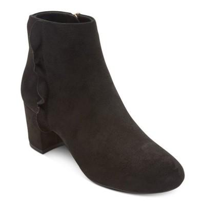 ロックポート ブーツ&レインブーツ シューズ レディース Women's Total Motion Oaklee Ruffle Ankle Boots Black Faux Suede