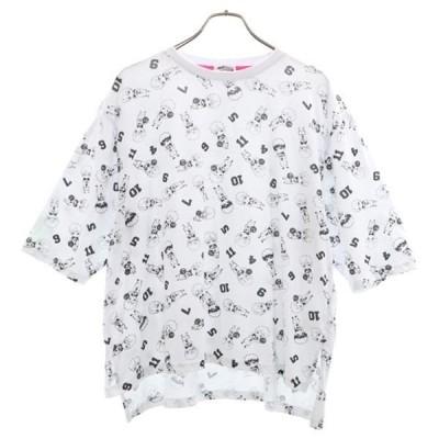 黒子のバスケ ラストゲーム プリント 半袖 Tシャツ 4L 白  総柄 レディース 古着 200524  wg5-0921