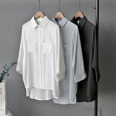 レディース 春夏シャツブラウス トップス シフォンブラウス 七分袖   シャツゆったり 大きいサイズ ワイシャツ 薄手 フォーマル 通勤 OL 着痩せ