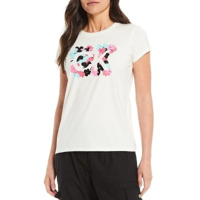 カルバンクライン レディース Tシャツ トップス Logo Floral Pigment Print Crew Neck Tee Soft White