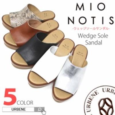 mio notis ミオノティス リアルレザーウェッジヒールサボサンダル 887m 送料無料 ミュール レディース 靴 本革