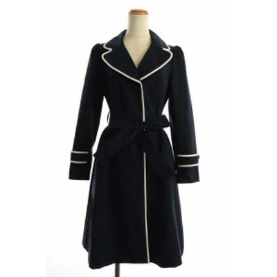 【中古】エムズグレイシー M'S GRACY スプリングコート ロング ベルト付き 36 紺 /AO ■OS レディース