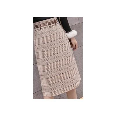 スカートグレンチェックスカートAライン台形スカート秋冬ボトムズレディースラシャスカート膝丈大きいサイズハイウェストベルト付きチェック