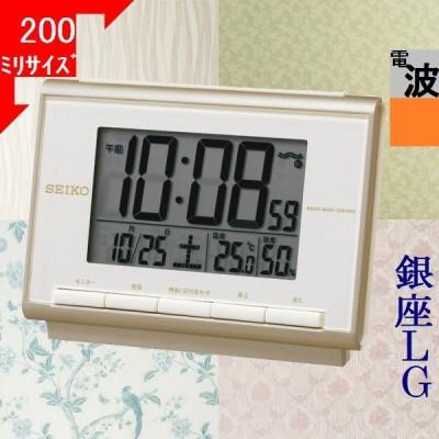 目覚まし時計 セイコー(SEIKO) デジタル 電波時計 日付曜日・温度湿度表示 四角形 ライトローズゴールド/液晶色 / 当店再検品済