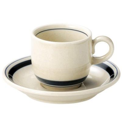 インディゴボーダー コーヒーカップ&ソーサー(165cc) カントリー cafe カフェ 食器 業務用 日本製