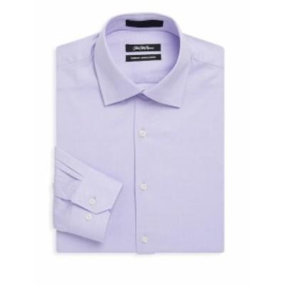 サックスフィフスアベニュー Men Clothing Dobby Textured Cotton Dress Shirt