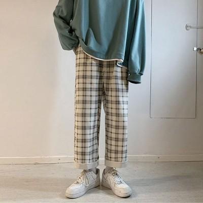 メンズ チェック柄 ロングパンツ ズボン ジョガーパンツ テーパード ファッション ワイドパンツ カジュアル ヒップホップ ゆったり ビッグシルエット