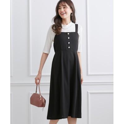 2点セット(ジャンパースカート+テレコリブトップス) (ワンピース)Dress
