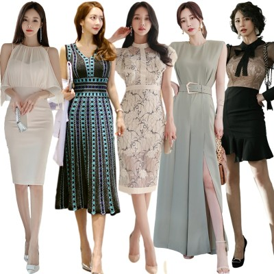 「05/20 新作追加 Special Offer」 高品質 韓国ファッション OL、正式な場合、礼装ドレス セクシーなワンピース、一字肩 二点セット、側開、深いVネック やせて