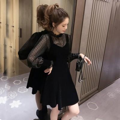 お呼ばれ シースルー ワンピース ドレス 韓国 ファッション レディース ベロア ワンピース ミニ 結婚式お呼ばれ パーティー ドレス ワンピ シアー ドット 長袖 ミニドレス ミニワンピース フレア