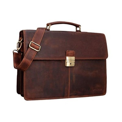 STILORD 'Edward' Business Bag Men's Briefcase Laptop Bag Real Cow Leather, Colour:Prato - Brown 並行輸入品