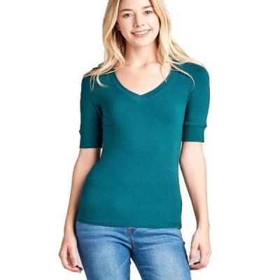 キッズ 衣類 トップス Emmalise Women's Cotton Blend V Neck Tee Shirt Half Sleeves - Junior and Plus Sizes ブラウス&シャツ