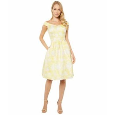 カルバンクライン レディース ワンピース トップス Off Shoulder Brocade A-Line Dress Popcorn Multi