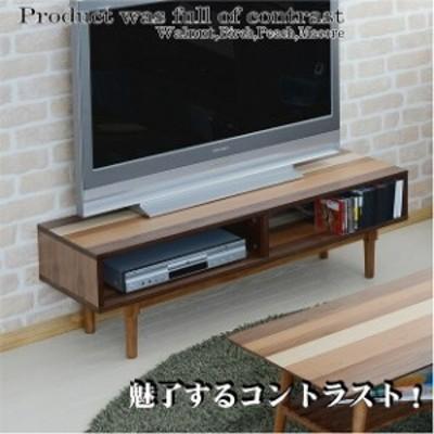 4種の天然木のコントラスト♪ テレビボード ローボード 120 【送料無料】 テレビ台 木製 かわいい おしゃれ 脚付き シンプル 収納 北欧