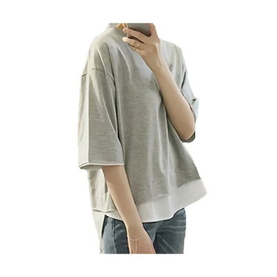 モノア Tシャツ カットソー レディース ファッション 重ね着風 半袖 レイヤード シャツ 無地 トップス グレー M