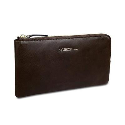 財布 メンズ 長財布 カードケースセット VISOUL 牛革 ファスナー 大容量16枚カード収納 小銭入れ 多機能 超薄型 メンズ レディー