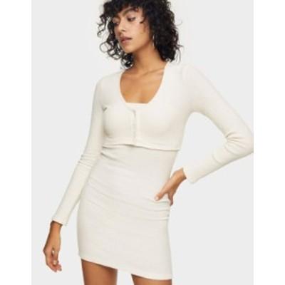 トップショップ レディース ワンピース トップス Topshop cardigan body-conscious mini dress in cream Cream