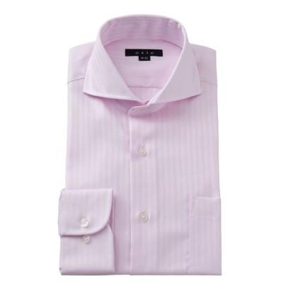 ホリゾンタルカラー ワイシャツ プレミアムコットン スリム ピンク カッタウェイ メンズ 長袖 形態安定 ドレスシャツ ビジネスシャツ おしゃれ