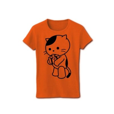 プレゼントとねこ リブクルーネックTシャツ(オレンジ)