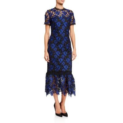 ショシャーナ レディース ワンピース トップス Talisa Pocantico Floral Lace Short-Sleeve Midi Dress