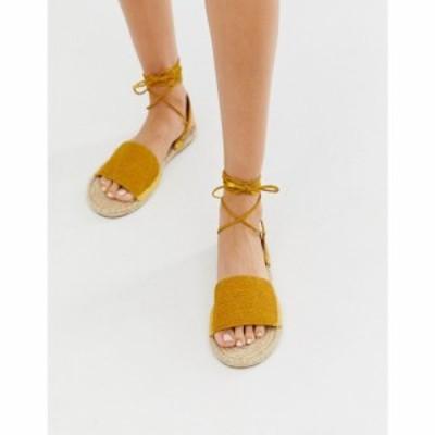 エイソス ASOS DESIGN レディース エスパドリーユ シューズ・靴 Josy woven espadrille flat sandals in yellow Yellow