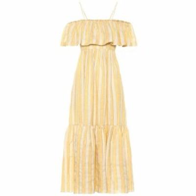 スリーグレイス Three Graces London レディース ワンピース ワンピース・ドレス Ida off-the-shoulder maxi dress ochre stripe linen