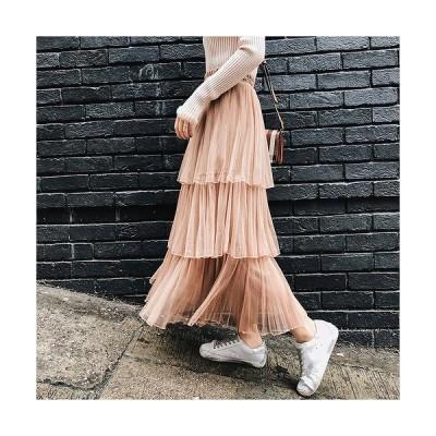 スカート チュール シャーリング 無地 純色 全3色 709579