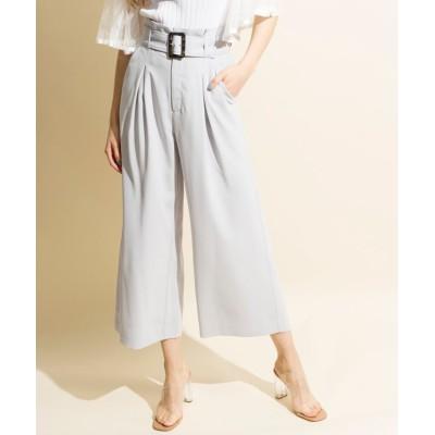 【アンドクチュール】 ベルト付きワイドパンツ レディース サックス M And Couture