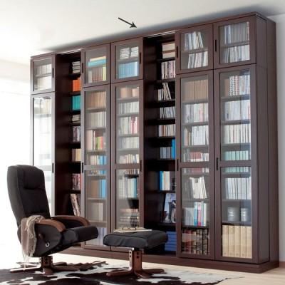 本格仕様 快適スライド書棚 タモ天然木扉付き・上置き付き 4列 764053
