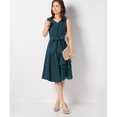 【インタープラネット】 ウエストタック入り刺繍レース使いドレス レディース ダーク グリーン 002 INTERPLANET