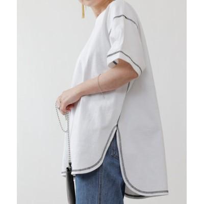 天竺前後差半袖T/サイドスリットTシャツ