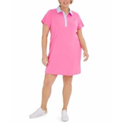 トミー ヒルフィガー レディース ワンピース トップス Plus Size Cornell-Trimmed Polo Dress Pink