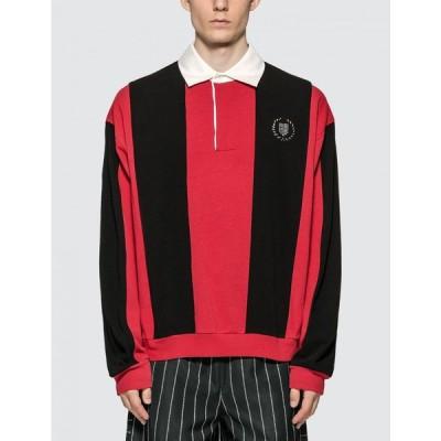 アレキサンダー ワン Alexander Wang メンズ ポロシャツ トップス Heavy Jersey Rugby Polo Shirt Black/Red