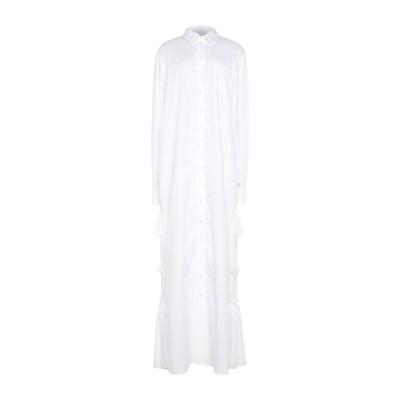 BROGNANO ロングワンピース&ドレス ホワイト 40 コットン 100% / シルク ロングワンピース&ドレス