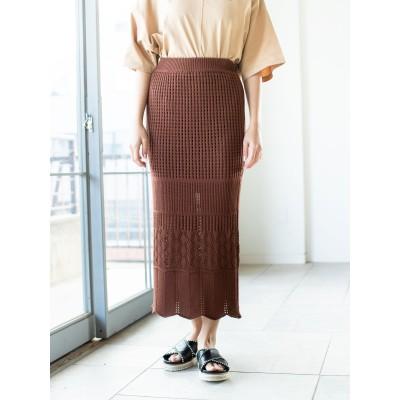 クロシェ編み風ミディスカート