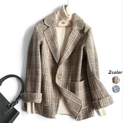 チェック柄 ジャケット レディース 韓国風 テーラードジャケット 20代 30代 40代 通勤 通学 ポケット付き スーツジャケット ラシャコート ショート丈