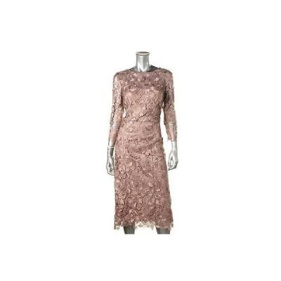 海外セレクション ドレス ワンピース JS コレクションs 9017 レディース ピンク Lace Mid-Calf Party Cocktail ドレス 6 BHFO