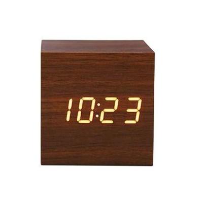 置時計 正方形・濃茶